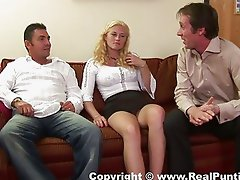 Guys get hot from blonde slut