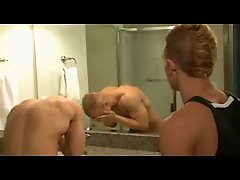 Hot blondes fuck in the bathroom