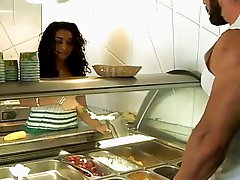 Latina fast food salesgirl Deven Rose picked up