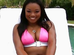 Sweet ebony Melody Nakai in bikini get interracial