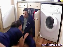 British lady in stockings fucks workman on kitchen floor