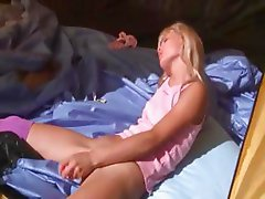 21yo teenie Loly jerking off in a tent