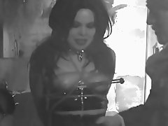 Fetish Girl in Dungeon nipple clamps and bound  part 2