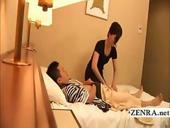 A seemingly urbane Japanese businessman lies on a hotel bed openly fondling himself while an older mature Japanese hotel masseuse still worthy of milf