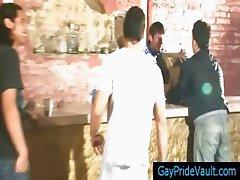 Steamy gay gangbar at the bar