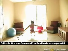 Amazing brunetteslut at home does some exercises