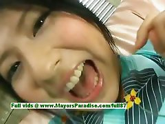 Megumi Haruka innocent lovely japanese girl in costume fondles her pussy