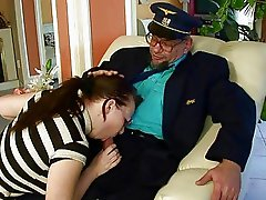 Grandpa fucking and pissing on ugly girl