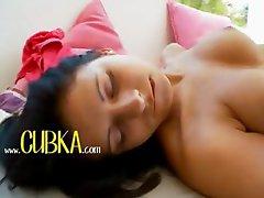 Quiet passion of darkhair babe stripping