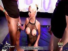Sexy blonde slut with big tits sucking
