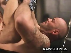 Hot Rough and Tough Hunks enjoy a hot hardcore session as one plows the other till they both cum hot manly shots  Watch it all at rawsexpigs com for a