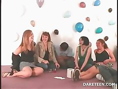 Hot lesbian kiss in truth or dare sexgame