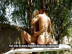 Jo and Boroka lusty lesbo girls fingering