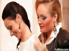 Hot blonde and brunette lesbians get part3
