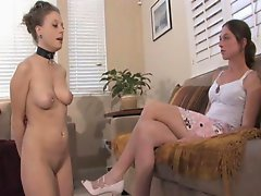 Mistress Claire humiliates her naked slave girl and makes her worship her feet