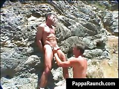 Two gay guys suck cock and fuck outdoor  part1