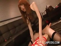 Foxy asian redhead girl riding starving schlong
