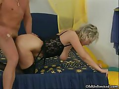 Nasty blonde old slut goes crazy sucking