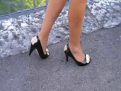 nice legs with peep toe heels on the walk