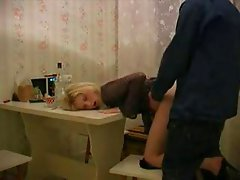 Russian amateur girl fucked from neighbour on table in kitchen