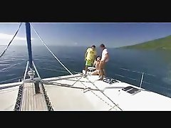 Hot Latina Chick Pleasuring Two Guys in a Yacht