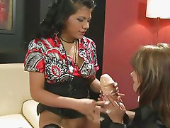 Sexy satin lesbians in shoe store
