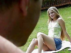 Good looking blonde gal nailed by horny old man