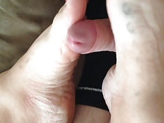 Wife footjob with big cumshot