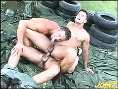 3 buff military men sweat suck and fuck in the bright