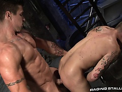 Trenton stretches and eats James' hole, straddles and fucks