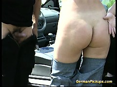 Picked up German whore is fucked on field