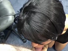 charli chavez is on her knees to suck dick