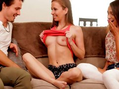Sensual babes Alex More and Norah Nova are getting penetrated on the sofa