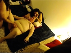 Horny amateur couple is joined by a fat babe for a threesome