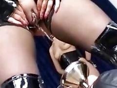 Femdom skanks piss on their sub slaves BDSM fetish compilation