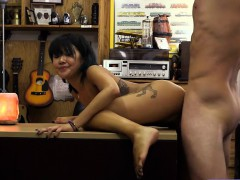 Asian sweetie sells her massage table and banged by pawn guy