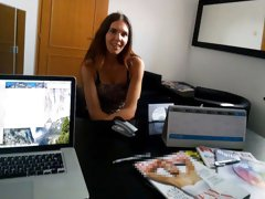 The job interview with a nice brunette goes wrong in the hottest way