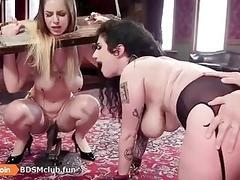 Ass fuck BDSM time for babe getting punished next to other gals