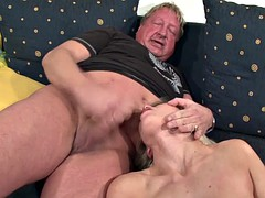 Horny blonde babe does old man a favor