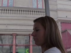 Euro beauty doggystyled in public for cash