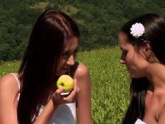 Cute Lesbian couple outdoors fun