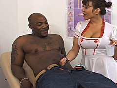 Delicious mature nurse takes good care of her patient's BBC