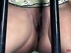 Caged bitch Dia Zerva gets toyed and mouth fucked BDSM