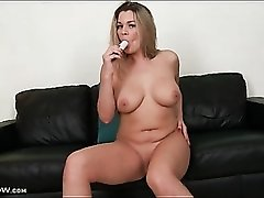 Shaved milf snatch is slippery in toy fuck video