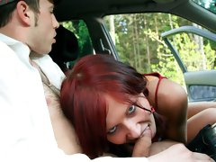 Small-tit young brunette Becca feels a hard cock inside her crack