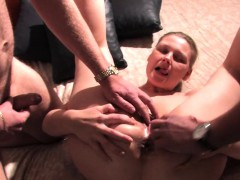 Threesome cum on my wife