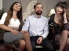 Hot tranny ladies have some threesome fun with bearded dude