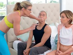 Beautiful MILF Cory Chase and teen Haley Reed fuck with a shared bf