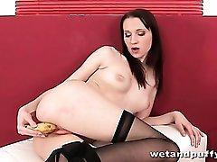 Banana fucked deep into her fresh wet pussy