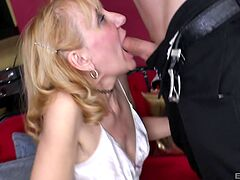Mature in satin lingerie, naughty home sex with her son
